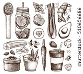 vector collection of hand drawn ... | Shutterstock .eps vector #510656686