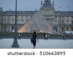 Women In Front Of Louvre Museum