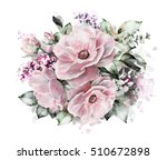 watercolor flowers. floral... | Shutterstock . vector #510672898
