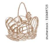 fresh bread basket hand draw... | Shutterstock . vector #510689725