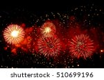 Red Fireworks In The Night Sky