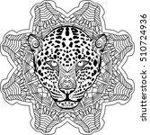 painted leopard on tribal... | Shutterstock .eps vector #510724936