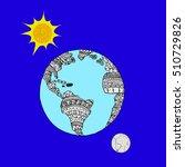 planet on orange blue.planet... | Shutterstock .eps vector #510729826