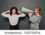 two women fighting. one shouts...   Shutterstock . vector #510739216