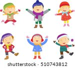 collection of kids in winter... | Shutterstock .eps vector #510743812