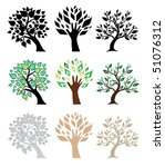 set of tree silhouettes | Shutterstock .eps vector #51076312