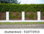 the fence and thuja tree wall | Shutterstock . vector #510772915