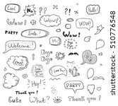 hand drawn set of speech... | Shutterstock .eps vector #510776548