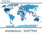 blue world map in blue tones | Shutterstock .eps vector #51077932