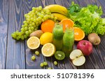 green smoothie in bottle with... | Shutterstock . vector #510781396