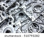 Small photo of Pattern of aluminum automotive parts cover crank case, casting process in automotive industry factory