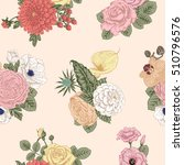 seamless pattern with flowers.... | Shutterstock .eps vector #510796576