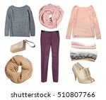 fashion female knitted warm... | Shutterstock . vector #510807766