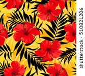 tropical flowers and palm... | Shutterstock .eps vector #510821206