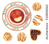 vintage cup and cookies.... | Shutterstock . vector #510830062