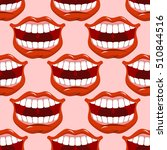 cheerful smile lip seamless... | Shutterstock . vector #510844516