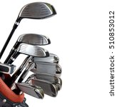 Golf Clubs In Bag Isolated On...
