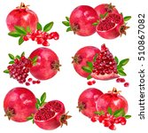 set pomegranate isolated on... | Shutterstock . vector #510867082