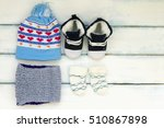 set of baby winter clothes... | Shutterstock . vector #510867898