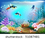 the underwater world of fish... | Shutterstock .eps vector #51087481