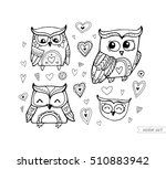 owls isolated. cute birds. set... | Shutterstock .eps vector #510883942