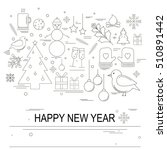 christmas set with line style... | Shutterstock .eps vector #510891442