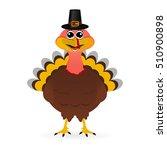 turkey in hat on thanksgiving... | Shutterstock . vector #510900898