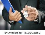 real estate agent handing over... | Shutterstock . vector #510903052