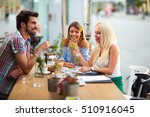 group of young people laughing... | Shutterstock . vector #510916045