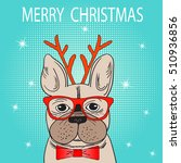cute french bulldog with... | Shutterstock .eps vector #510936856