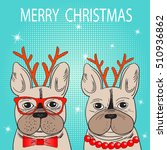 cute french bulldog with... | Shutterstock .eps vector #510936862