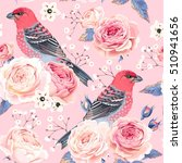 english roses and birds seamless | Shutterstock .eps vector #510941656