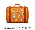 orange leather suitcase with... | Shutterstock . vector #510951952