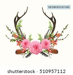 beautiful vector set of horns... | Shutterstock .eps vector #510957112