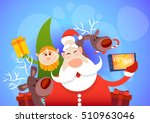 santa claus with reindeer elfs... | Shutterstock .eps vector #510963046