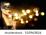 sexy model woman with glass of... | Shutterstock . vector #510963826