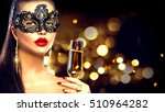 sexy model woman with glass of... | Shutterstock . vector #510964282