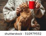 Girl In Warm Sweater Drinking...