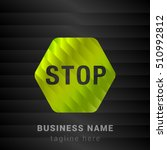 stop sign lime green and black...   Shutterstock .eps vector #510992812