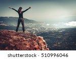 cheering young woman standing... | Shutterstock . vector #510996046