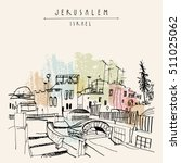 roofs of jerusalem above arabic ... | Shutterstock .eps vector #511025062