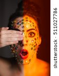 women with thumbtacks on face... | Shutterstock . vector #511027786