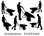 people with wheelbarrow... | Shutterstock .eps vector #511051642