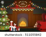 christmas night fireplace | Shutterstock .eps vector #511055842