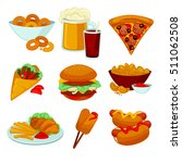 set of fast food meals.... | Shutterstock .eps vector #511062508