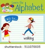 flashcard letter w is for... | Shutterstock .eps vector #511070035