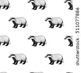 seamless pattern with badger.... | Shutterstock .eps vector #511077886