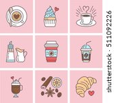 cute vector line icons of... | Shutterstock .eps vector #511092226