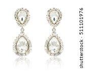 pair of silver diamond earrings ...   Shutterstock . vector #511101976