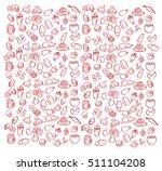 patterns food coffee beer ice... | Shutterstock .eps vector #511104208